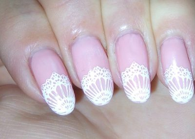 Pink with white lace tips